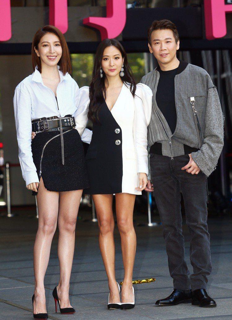 楊謹華(左)穿微風南山獨家品牌Alexander Wang出席微風南山開幕。圖/...