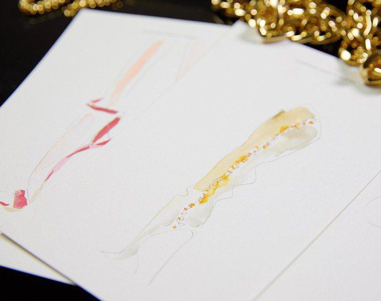 「Giuseppe for Rita Ora」合作系列設計草圖。圖/Giusep...