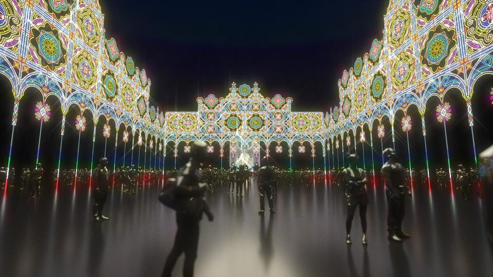 現場以23萬3,990顆LED燈泡堆疊出華麗盛大光雕秀。圖/全聯提供