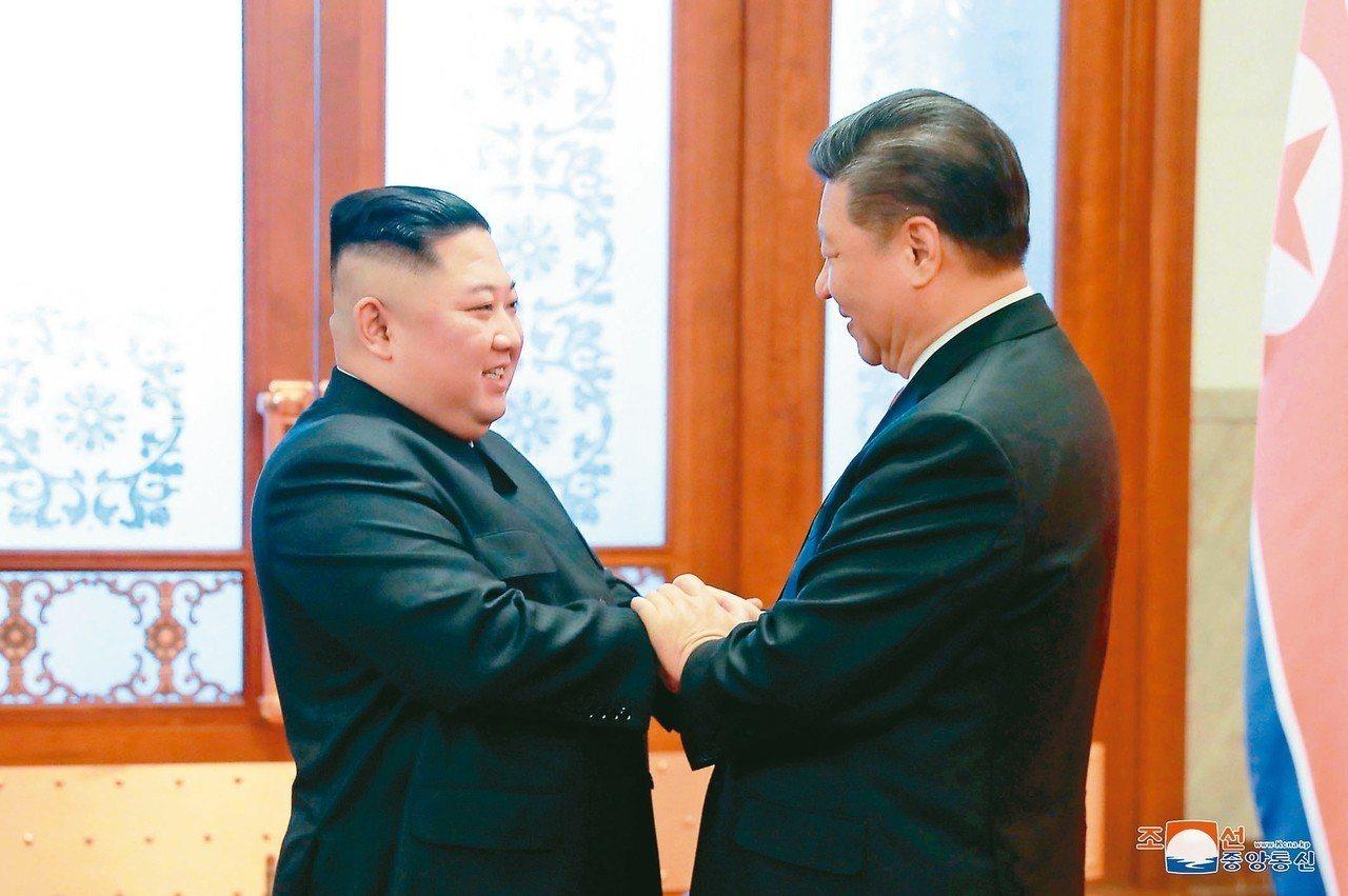 圖為中共總書記習近平(右)與北韓領導人金正恩8日在北京舉行會談。 美聯社