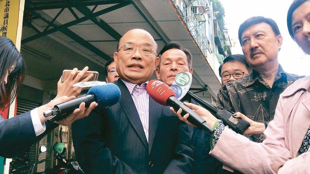 行政院前院長蘇貞昌受訪時被問到是否將承接重擔,仍不鬆口,但當天下午蔡總統約見他,...