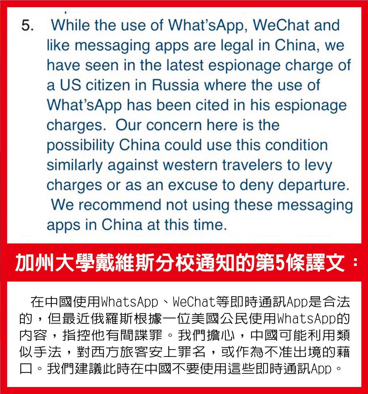 美國研究警告,勿在中國勿用社群媒體。 世界日報記者陳秋萍/翻攝