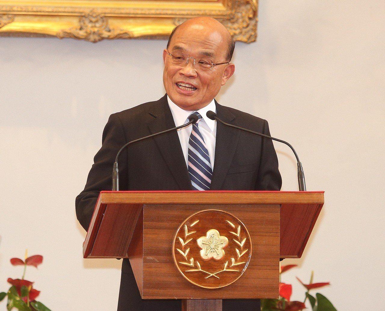 總統蔡英文11日宣布由前行政院長蘇貞昌接任閣揆。 中央社