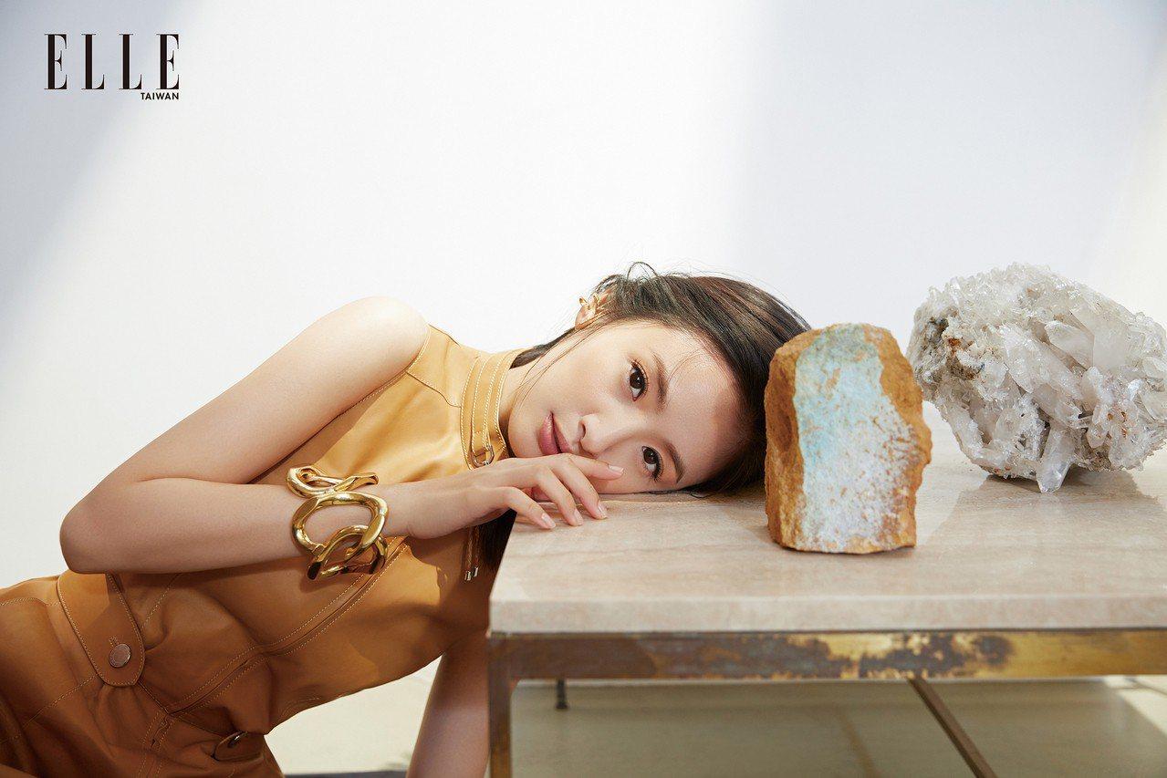 立領皮革洋裝(HERMÈS); 鑲鑽閃電耳掛(KATKIM);扭結造型手環(AN...