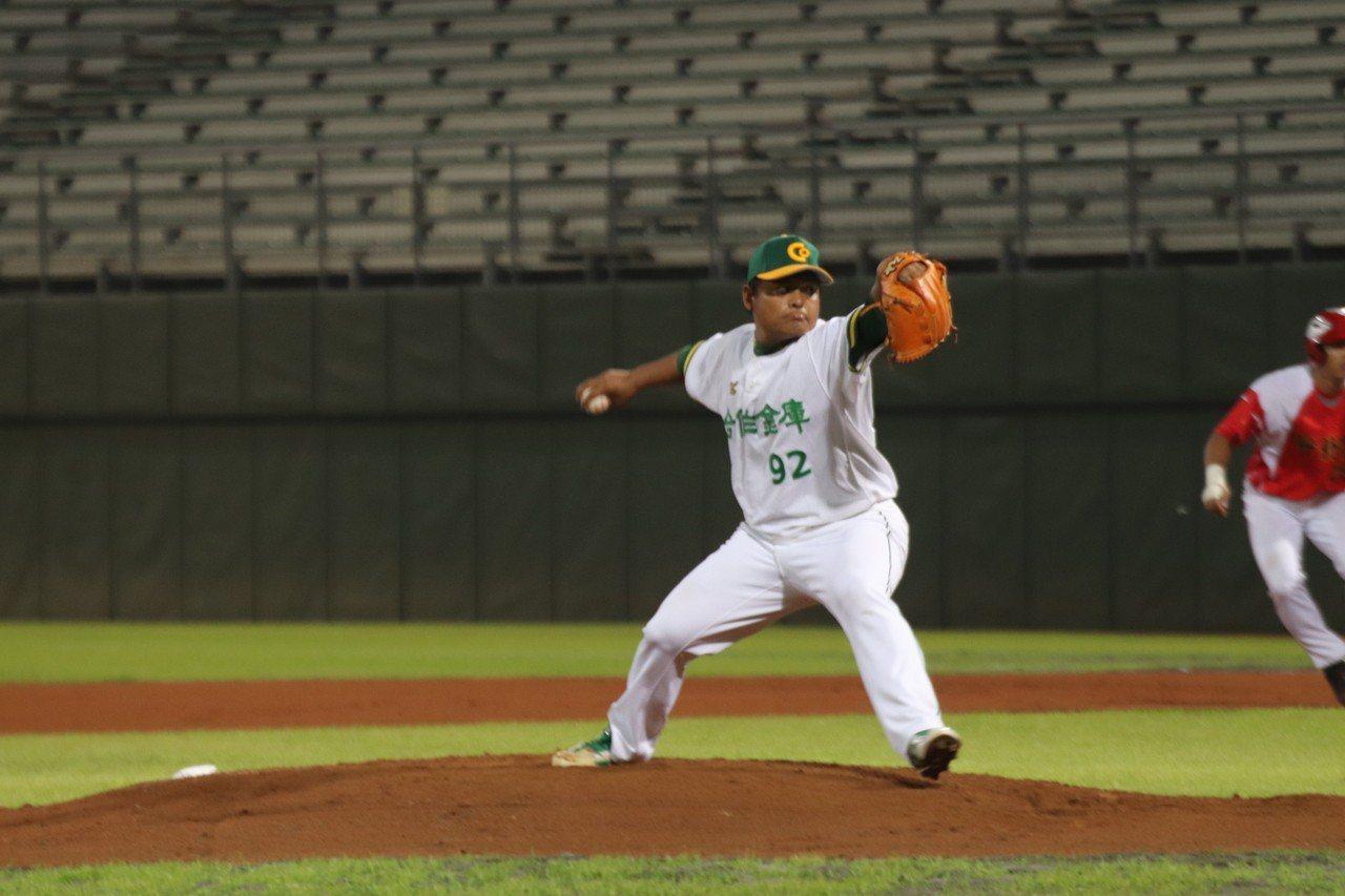 合庫先發投手黃健隆拿到勝投。圖/中華棒球協會提供