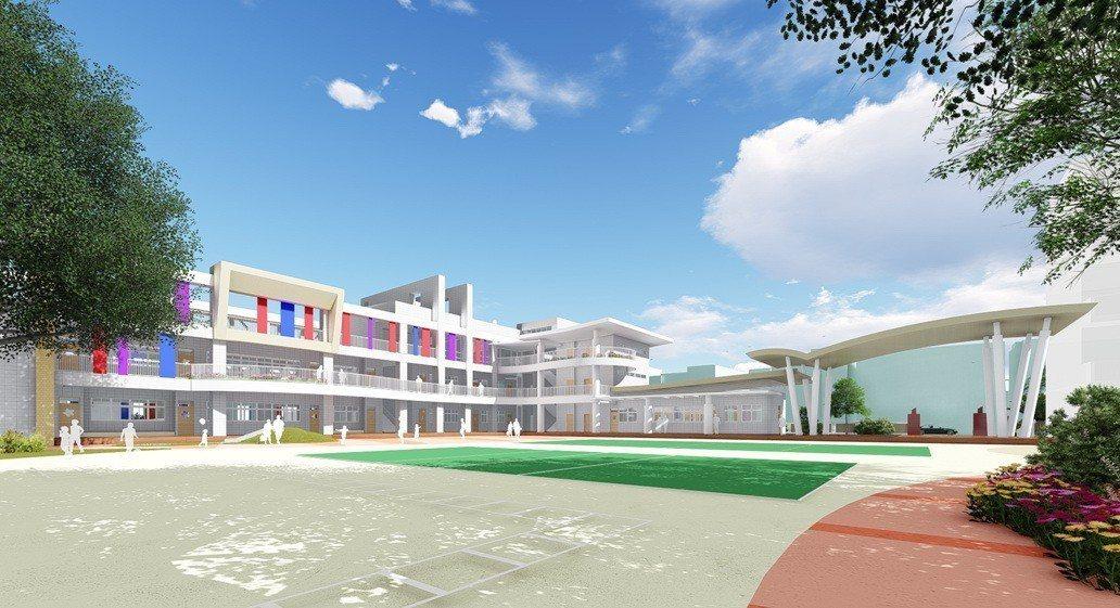 苗栗市建功國小將拆除臨中正路、建功街的老舊教室,以一年多時間重建新校舍,圖為新校...