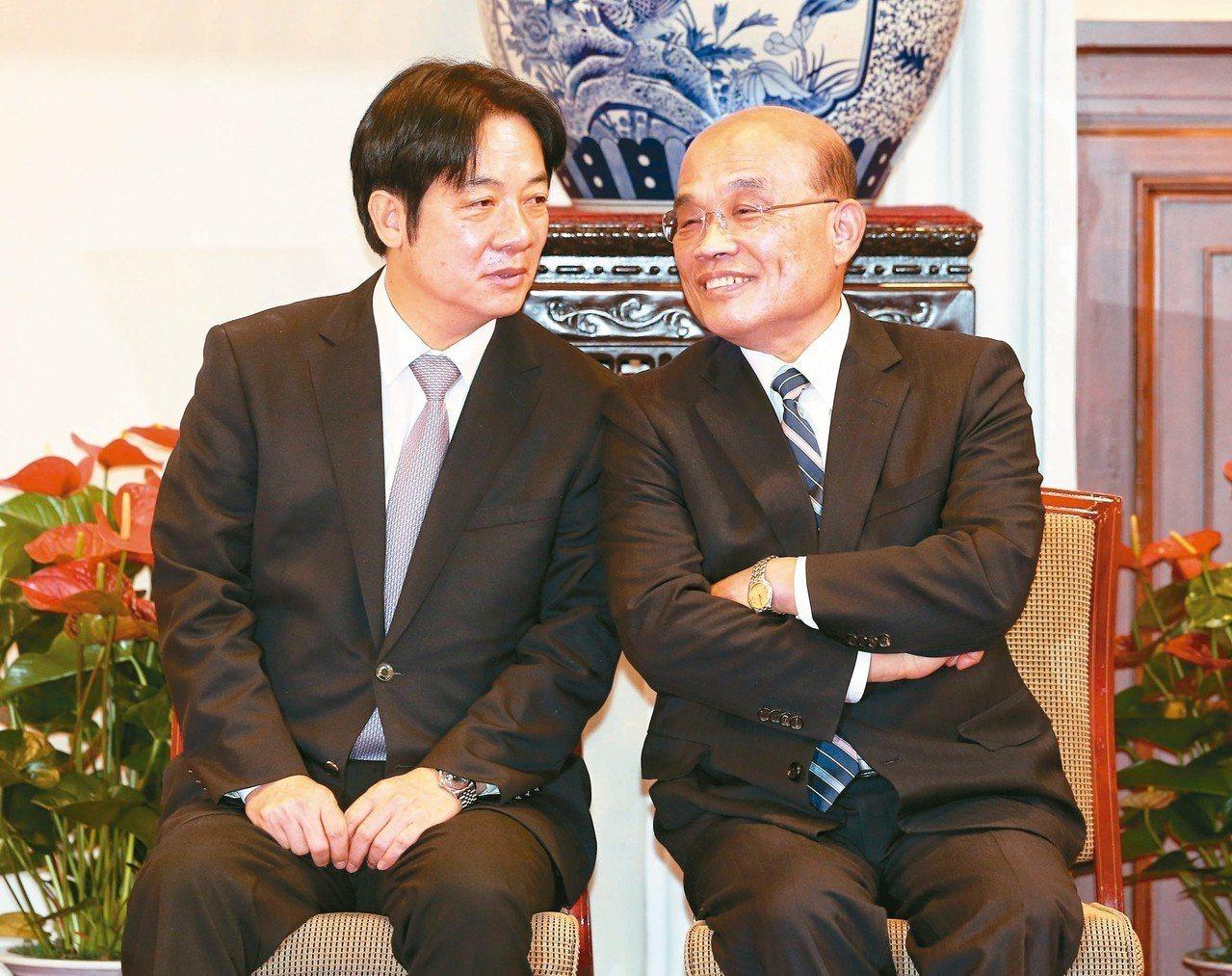 賴清德(左)昨率內閣總辭後,蔡英文總統隨即在總統府舉行記者會宣布新任閣揆由蘇貞昌...