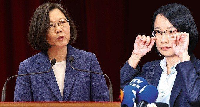 吳音寧(右)惹議,總統蔡英文(左)出面全力護盤。 圖/聯合報系資料照片