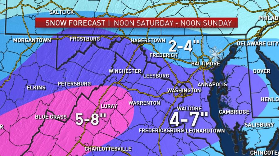 大華府新年第一場雪預計將於明日過午報到。(翻拍自NBC)