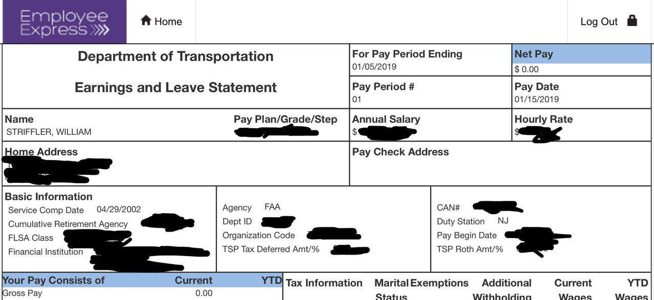 美國政府關閉,一名公務員收到的電子薪資明細表顯示薪資為0元。美聯社