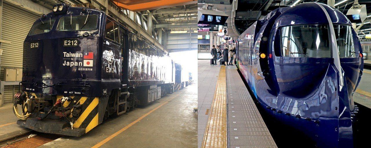 日本南海電鐵特急Rapi:t暱稱「藍武士號」(右)、台灣「日台友誼號」(左)。圖...