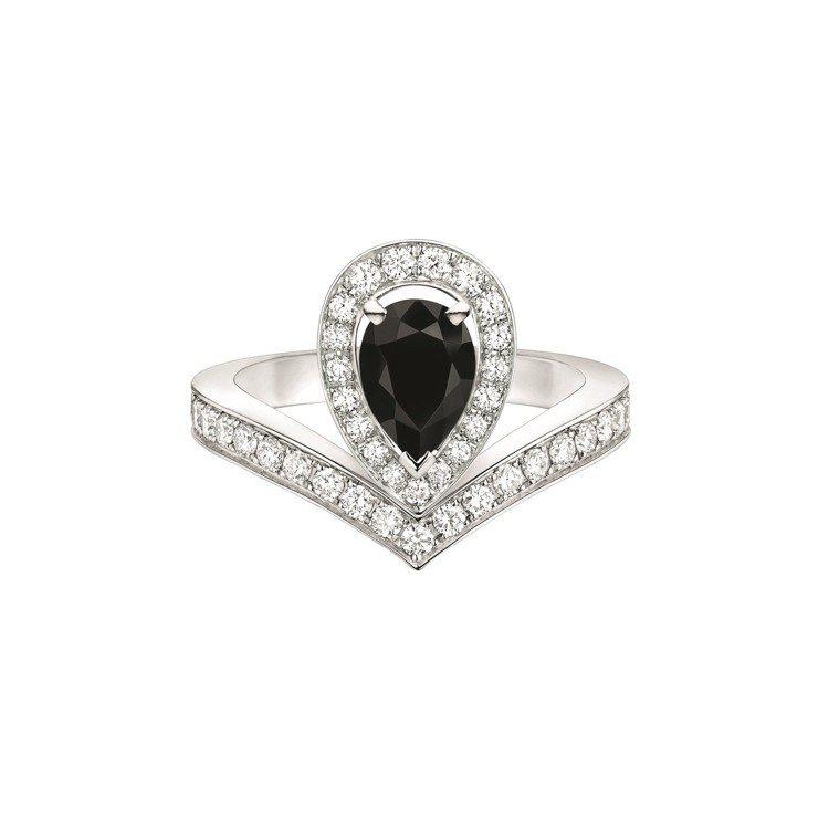 Joséphine Aigrette 18K白金黑色尖晶石鑲鑽戒指,22萬8,...
