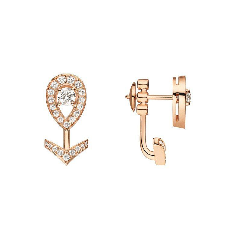 Joséphine Aigrette 18K玫瑰金鑲鑽耳環,價格未定。圖/Ch...