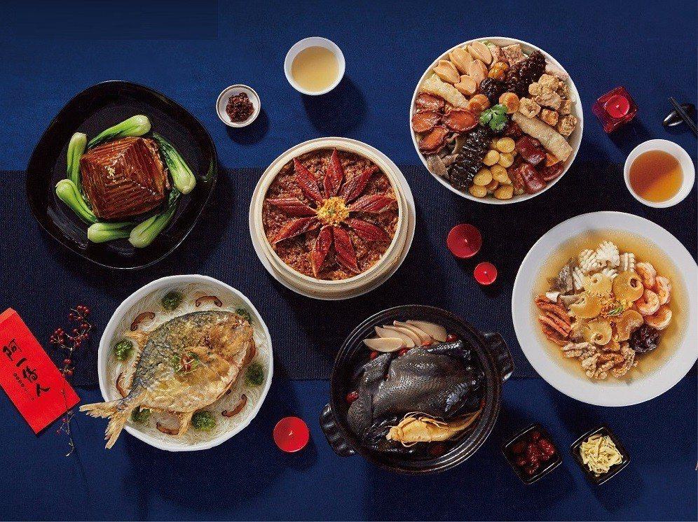 名店豪華年菜套餐有嶄露頭角之勢,圖為香港阿一鮑魚金豬報喜6件組。圖/momo購物...