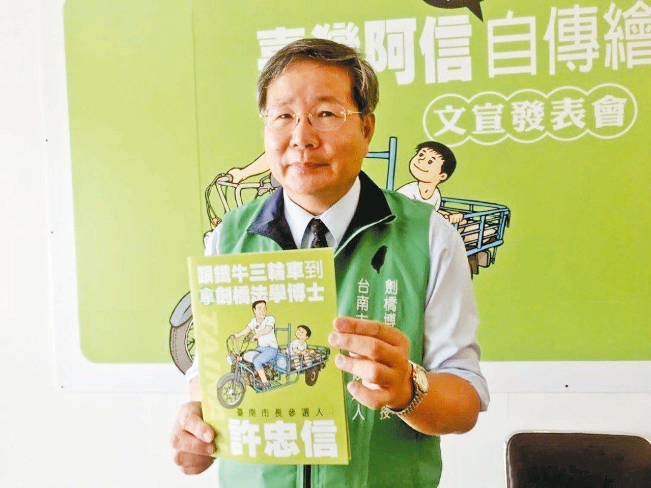 地方傳出獨派許忠信可能參選台南市第二選區立委補選,但他表示目前沒有考慮。 圖/聯...