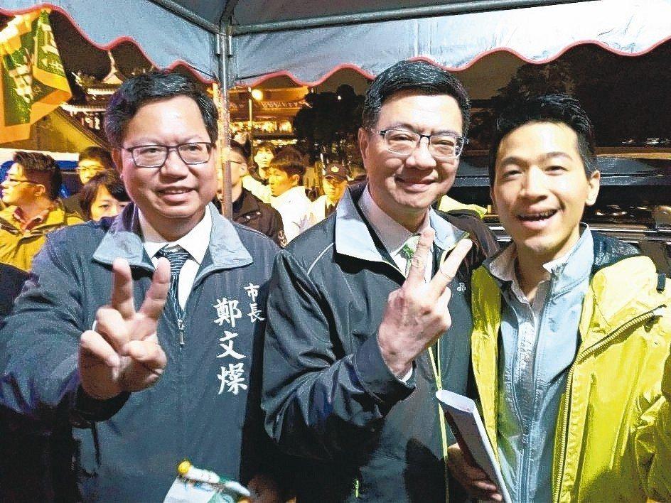 民進黨主席卓榮泰(中)、桃園市長鄭文燦(左)昨為立委候選人何志偉(右)造勢。 記...