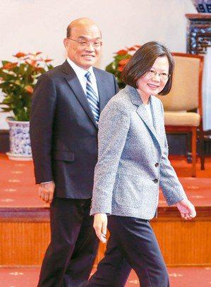 蘇貞昌組閣接近完成,明天就任的蘇內閣能否讓蔡政府從谷底翻身,將是最大挑戰。圖為日...