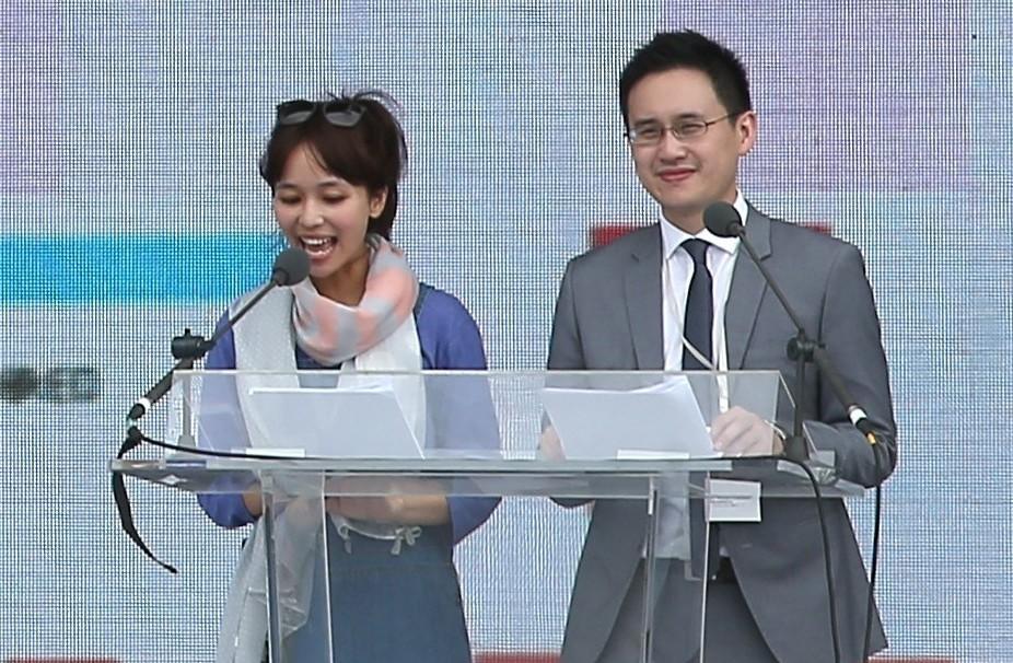 趙怡翔(右)曾主持蔡總統就職典禮,圖為當年彩排畫面。 圖/聯合報系資料照片