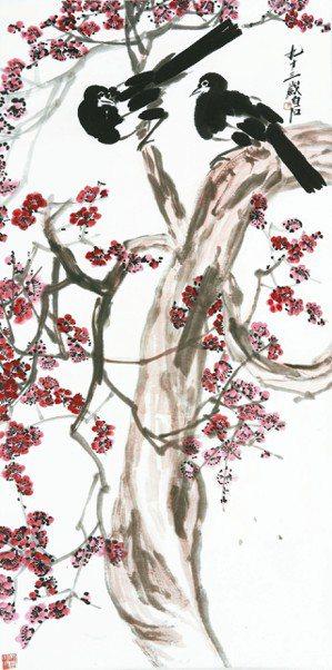 帝圖迎春拍推出齊白石的「紅梅報喜」,估價為200萬元至300萬元,尺幅長達128...