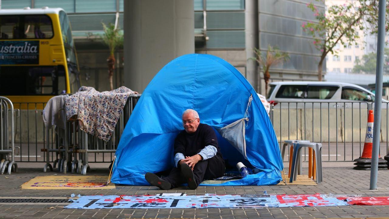 年屆七旬、人稱「甘仔」的甘浩望神父再次絕食抗議。香港01記者黃偉民/攝影