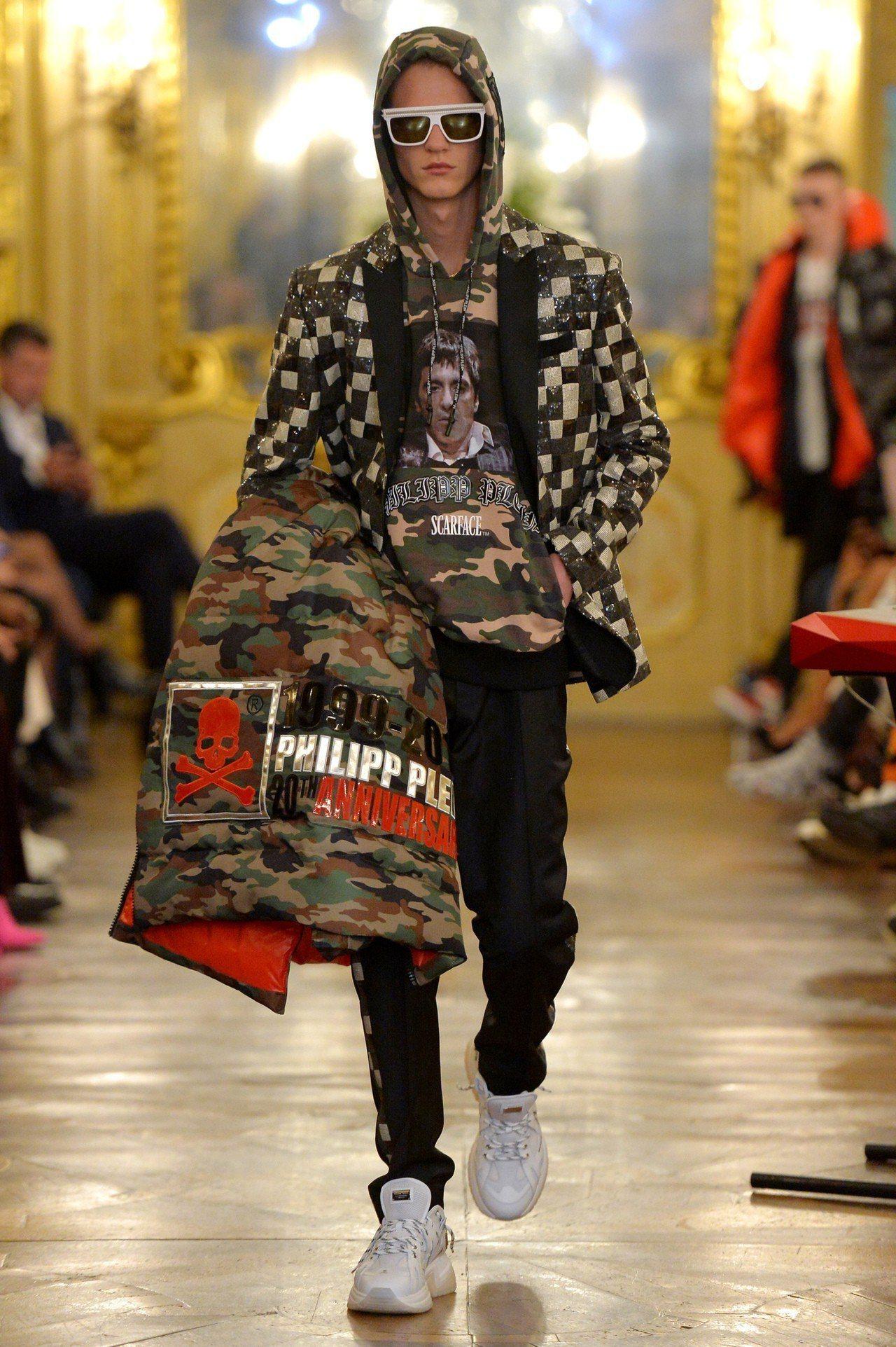 Philipp Plein的2019秋冬男裝系列,著名的華麗的裝飾仍然存在,融入...