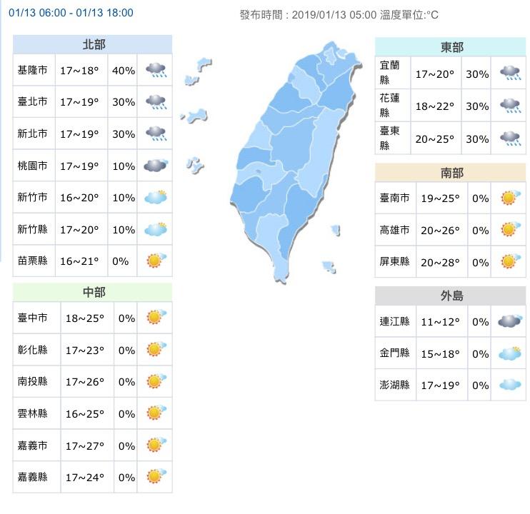 今天北部、東半部有雨,其他地區為晴朗好天氣。圖/翻攝自中央氣象局網站