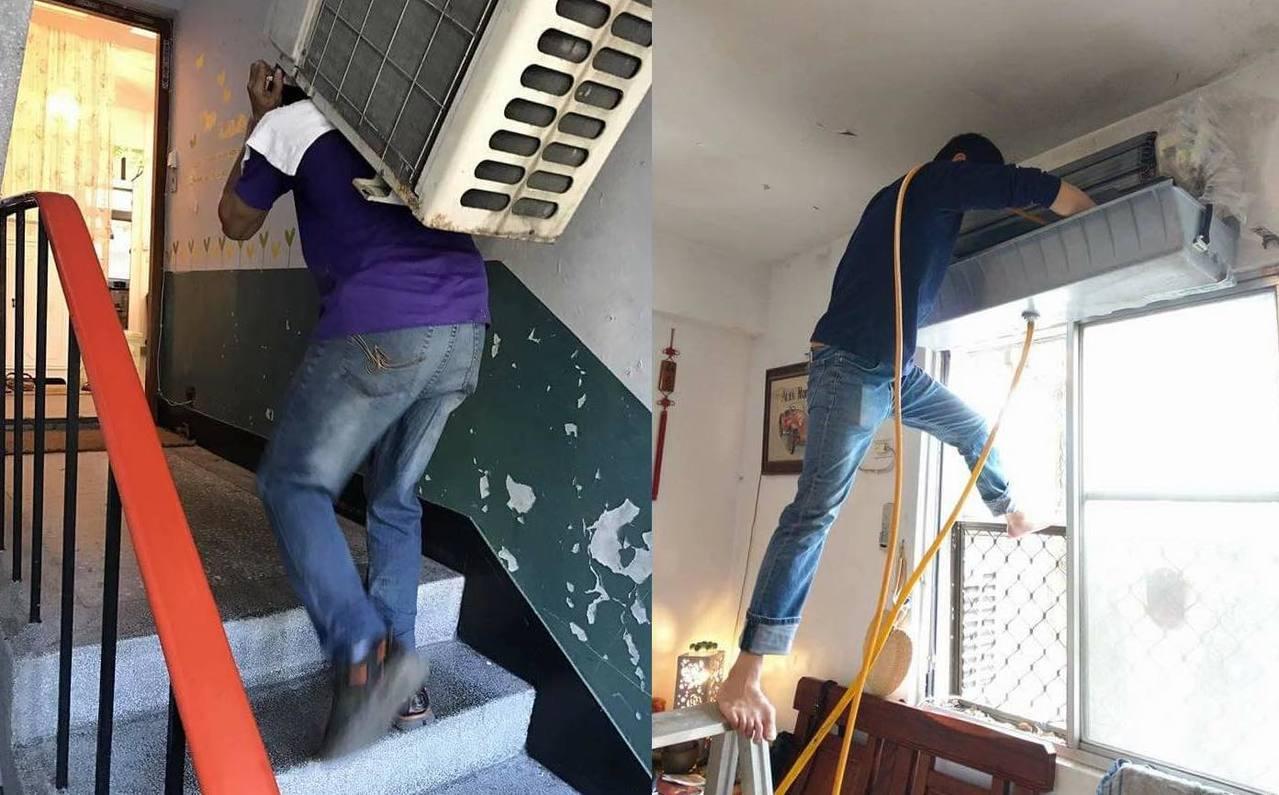 網友對他的工作技能萬分佩服「水電、修車裝冷氣、扛室外機上樓」,認為「這一個月10...