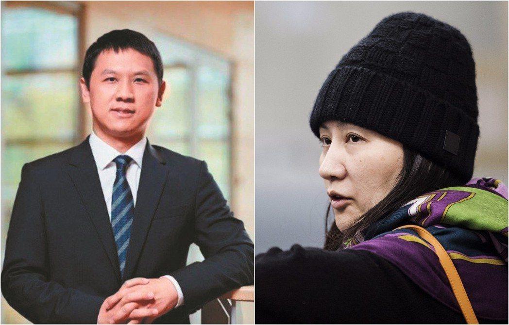 部分中國陰謀論者把孟晚舟(右)與王偉晶(左)相提並論,認為這是西方進一步對華為與...