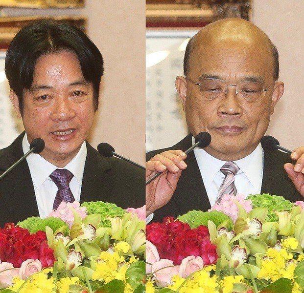 14日內閣進行交接,蘇貞昌(右)表示要做出讓人民有感的成績。卸任的賴清德(左)則...