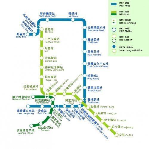 MRT+BTS路線圖。 圖/曼谷MRT官網