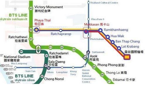 紅色線和黃色線為Express Line路線圖;藍色線為City Line路線圖...
