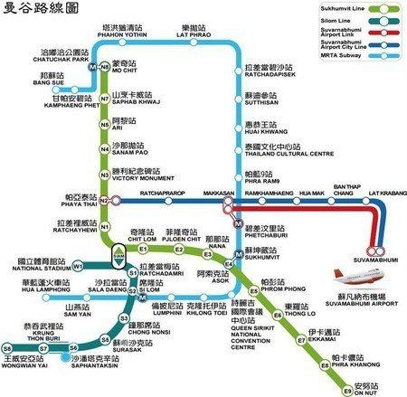 曼谷MRT、BTS、機場快線三鐵路線圖。 圖/Airport Train官網