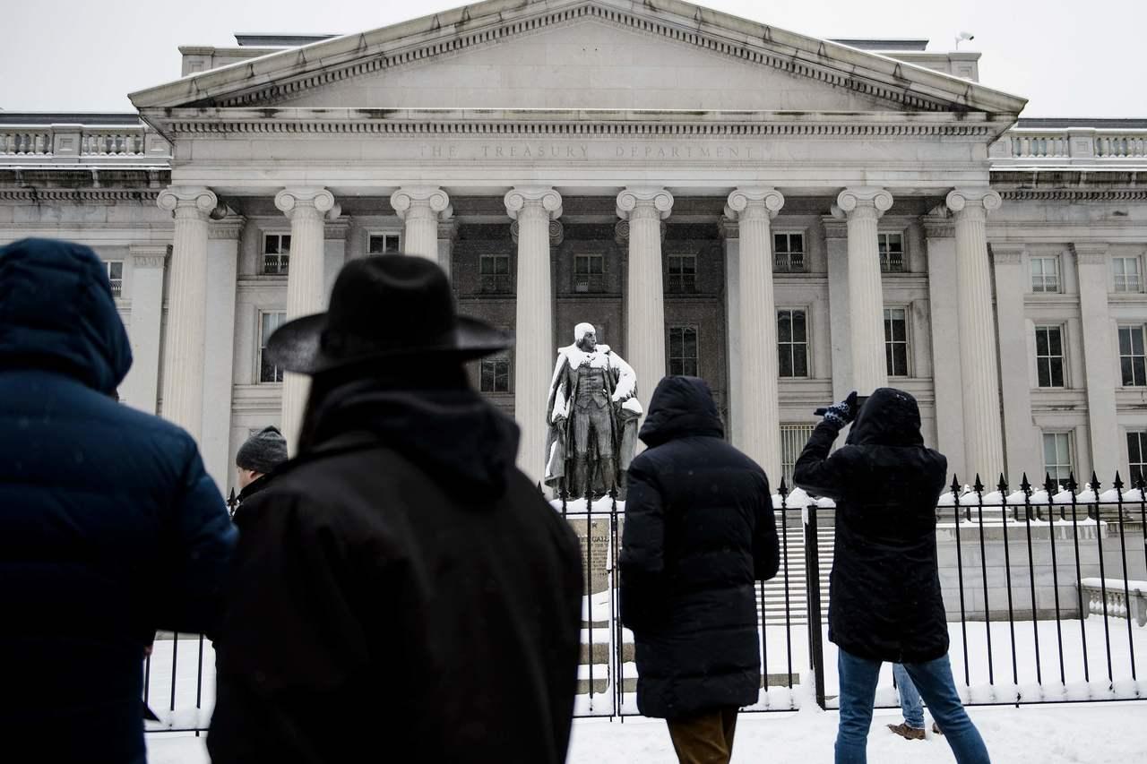 美國聯邦政府局部關門,今天進入第24天。圖為美國財政部。 法新社