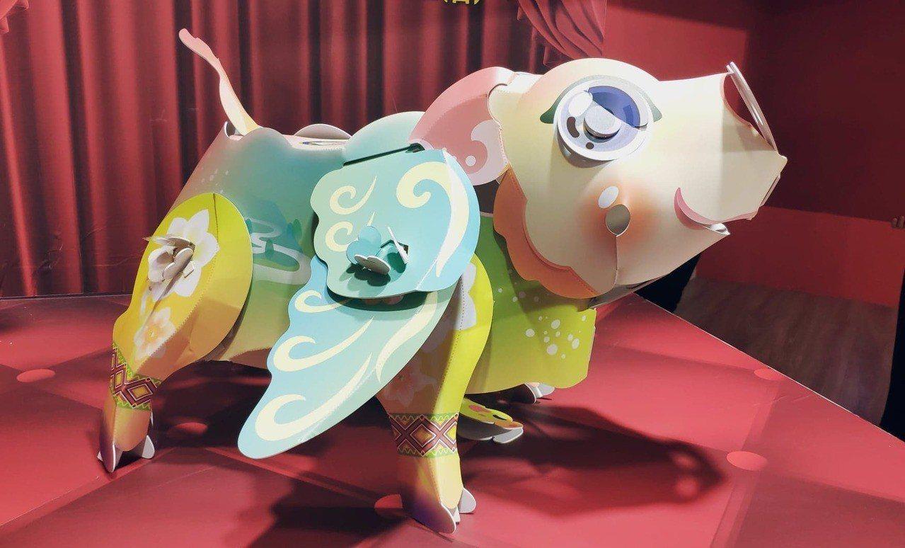 桃園燈節小提燈呼應今年豬年,命名為「飛天活力豬」。記者李京昇/攝影