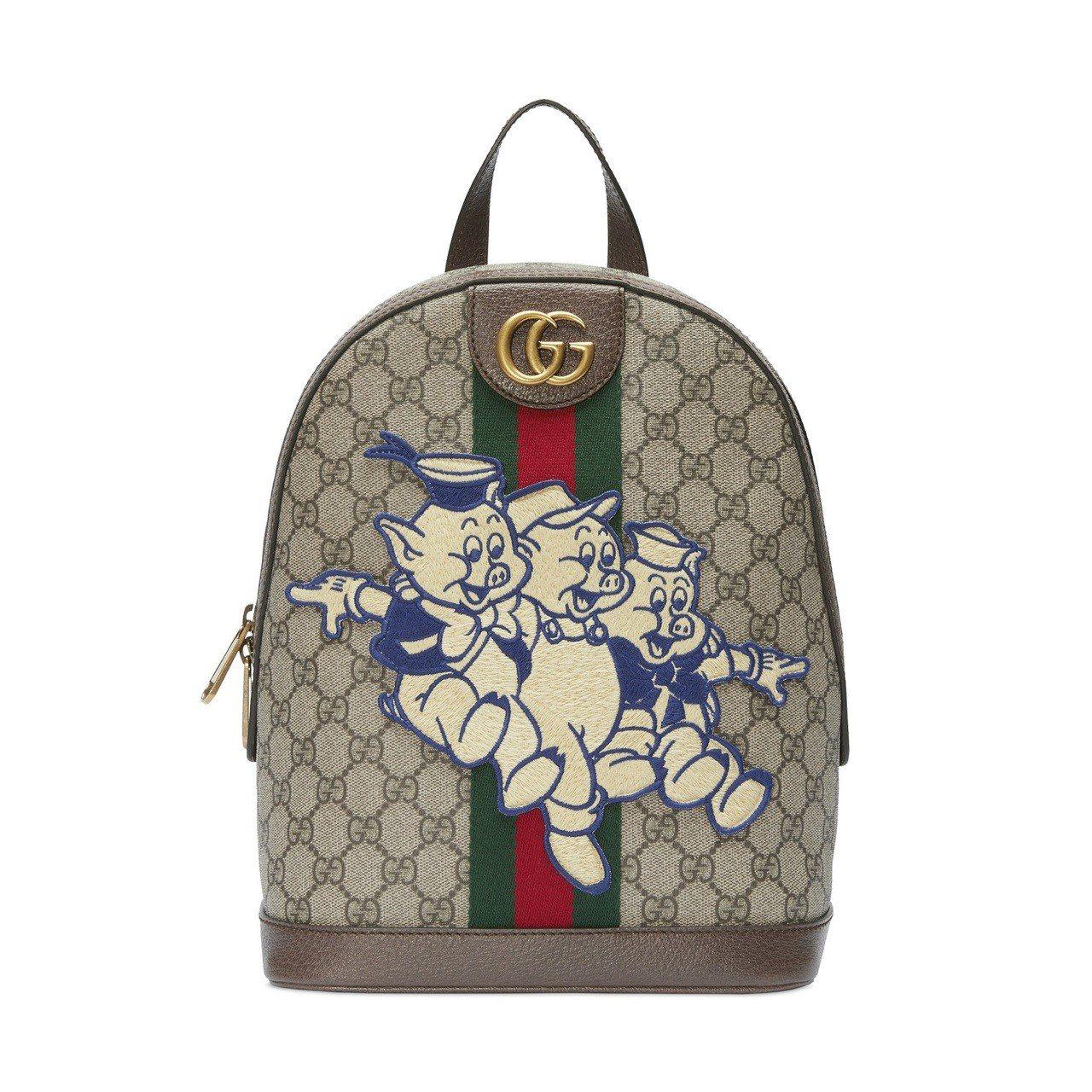 春節限定系列-三隻小豬刺繡後背包,51,100元。圖/Gucci提供