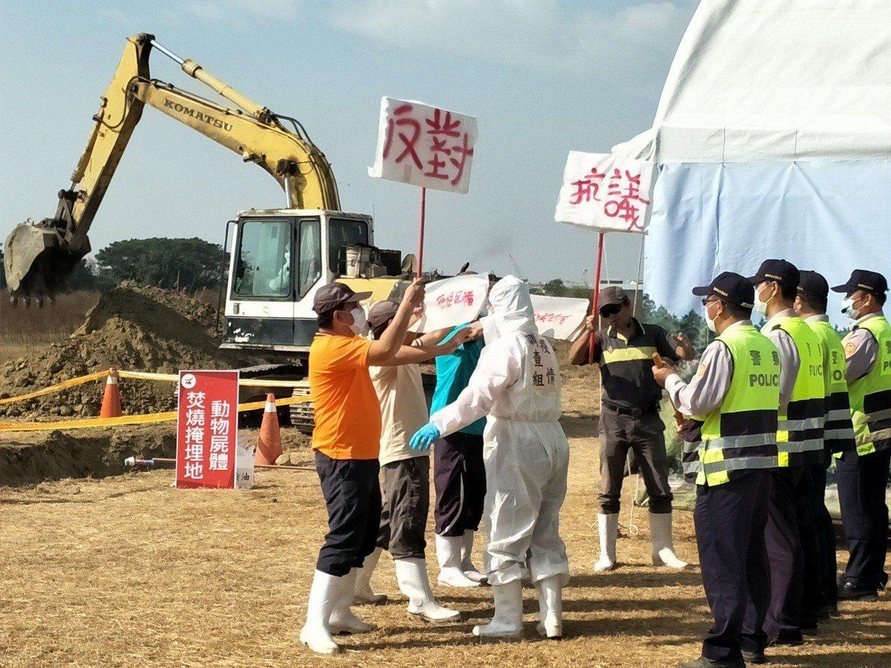 台南市昨在後壁烏樹林農場辦理非洲豬瘟演練,現場模擬掩埋豬隻遭遇民眾抗爭,經警方排...