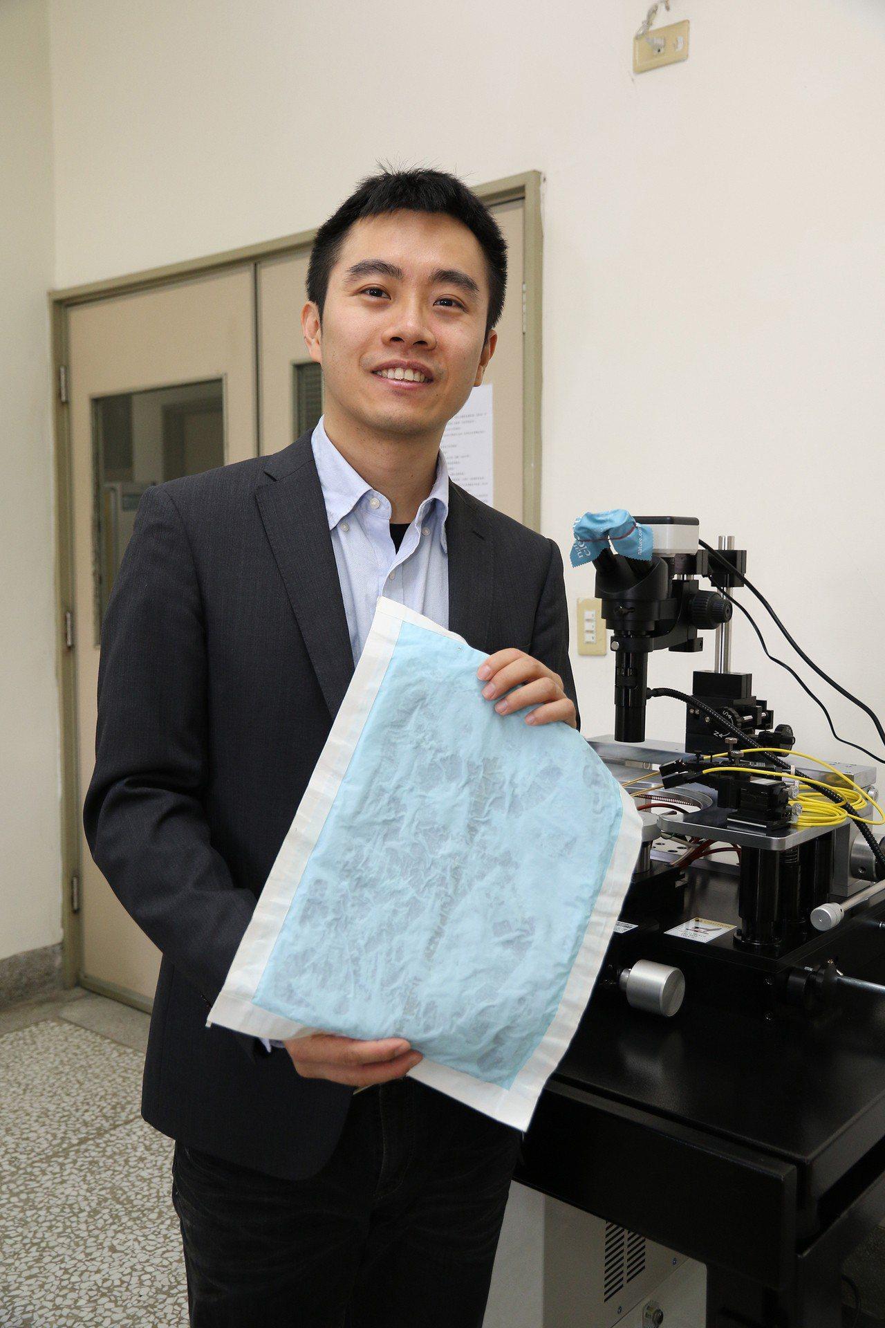 興大材料系助理教授賴盈至團隊研發奈米防水發電布料。圖/興大提供