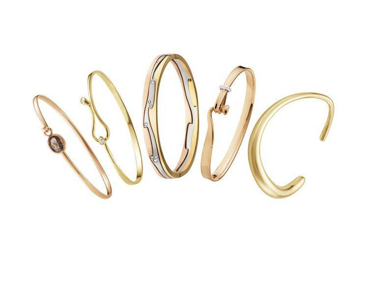 2019情人節的K金材質手鐲有許多不同款式可供選擇,與戀人一起配戴。圖/喬治傑生...
