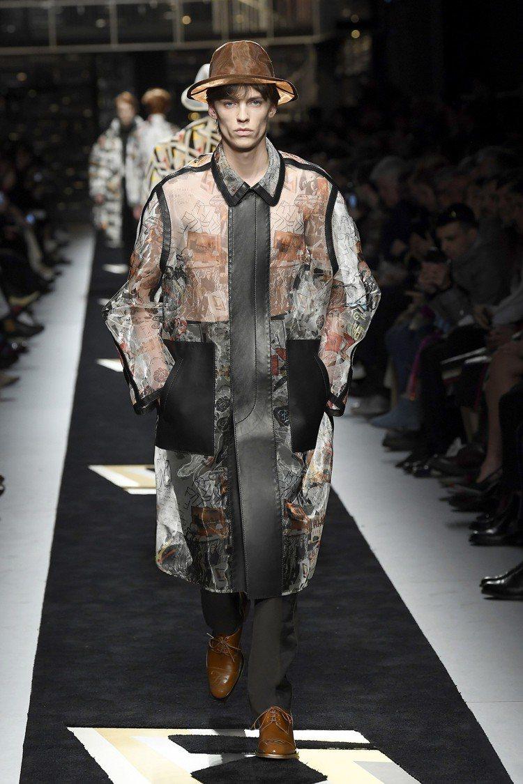 透明的烏干紗帽飾、塗鴉印花外套,兼容豪邁與優雅。圖/FENDI提供