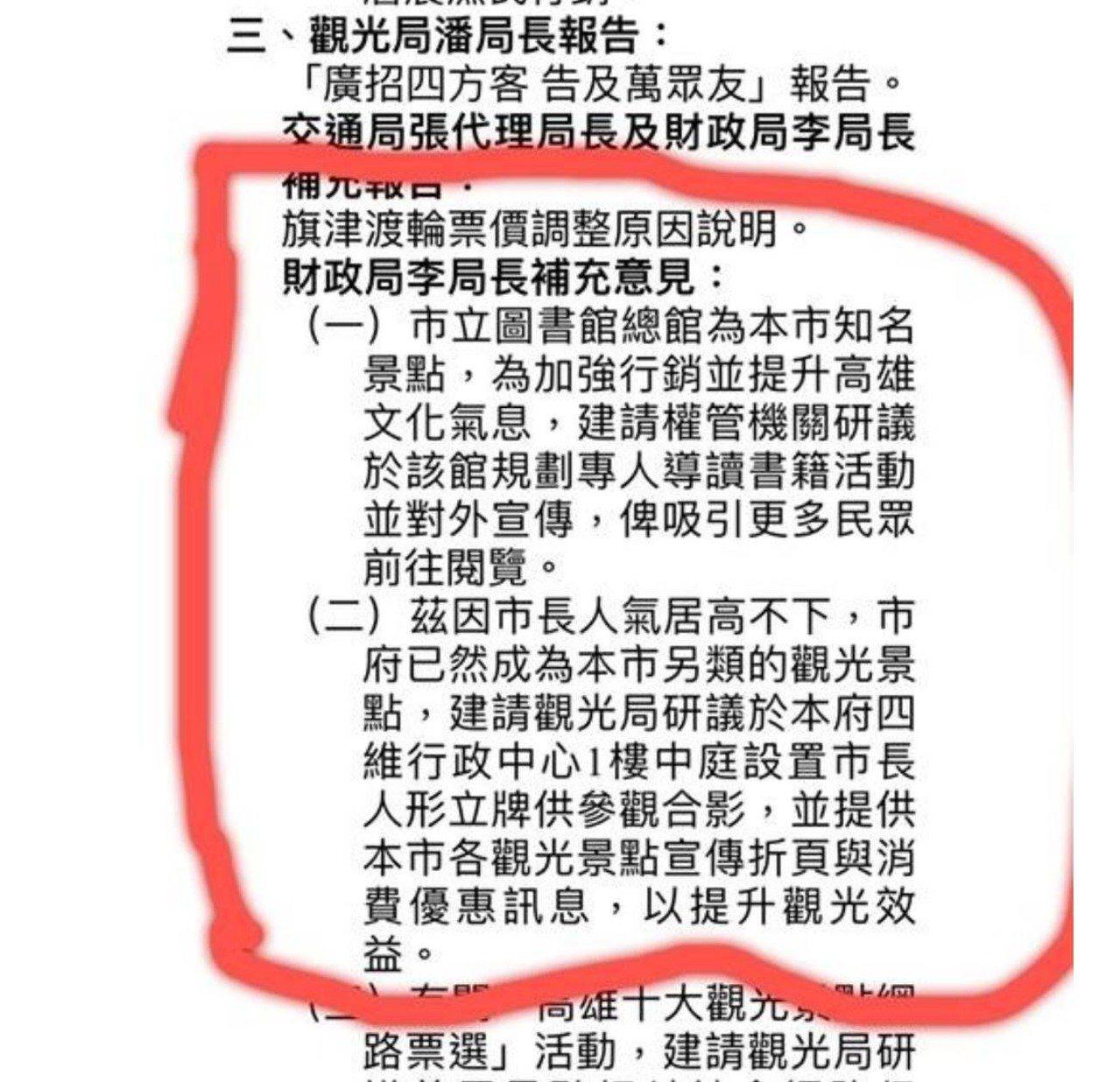 高市會議紀錄顯示財政局長李樑堅建議做市長韓國瑜人形立牌。圖/高雄市觀光局提供