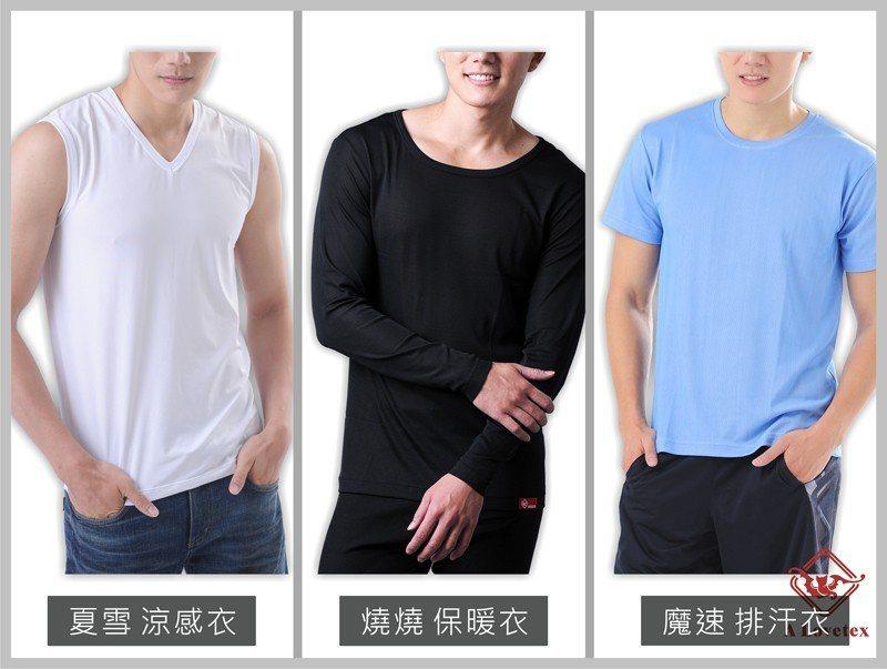樂福織品機能衣(左起)涼感、保暖、排汗衣。 圖/樂福織品提供