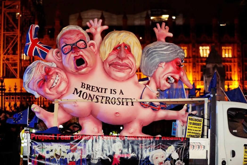 英國脫歐,靠著「百足蜈蚣」們,顢頇前行。 圖/美聯社