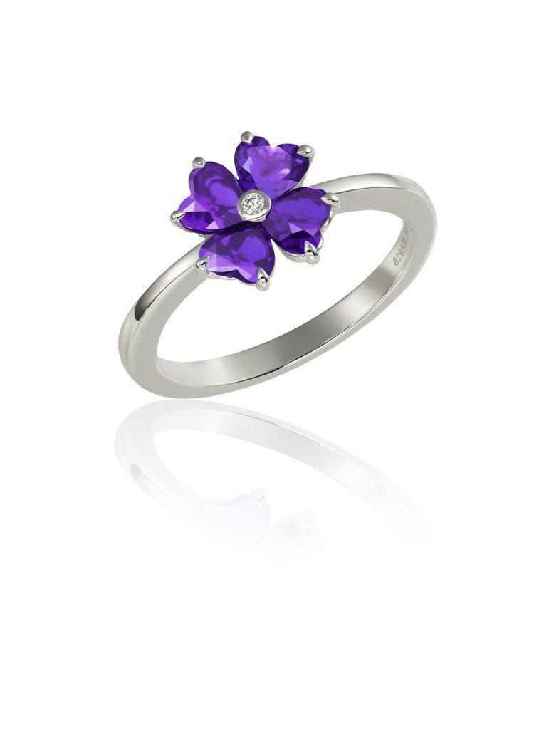 蕭邦For You系列戒指18K白金鑲嵌以4顆心型車工紫色水晶,價格店洽。圖/蕭...
