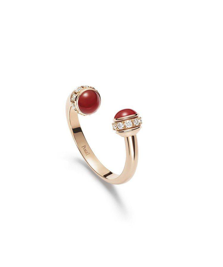 伯爵Possession指環,18K玫瑰金鑲嵌2顆紅玉髓與鑽石約0.20克拉,8...