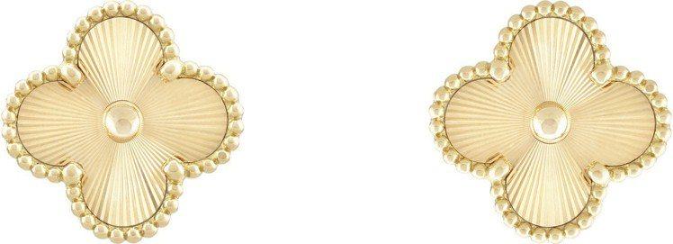 梵克雅寶Vintage Alhambra耳環,璣鏤雕花黃K金,15萬4,000元...