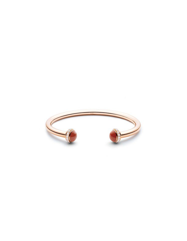 Possession紅玉髓手鐲,18K玫瑰金鑲嵌鑽石約0.38克拉與2顆紅玉髓,...