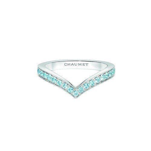 CHAUMET Joséphine Aigrette系列18K白金海藍寶石戒指...