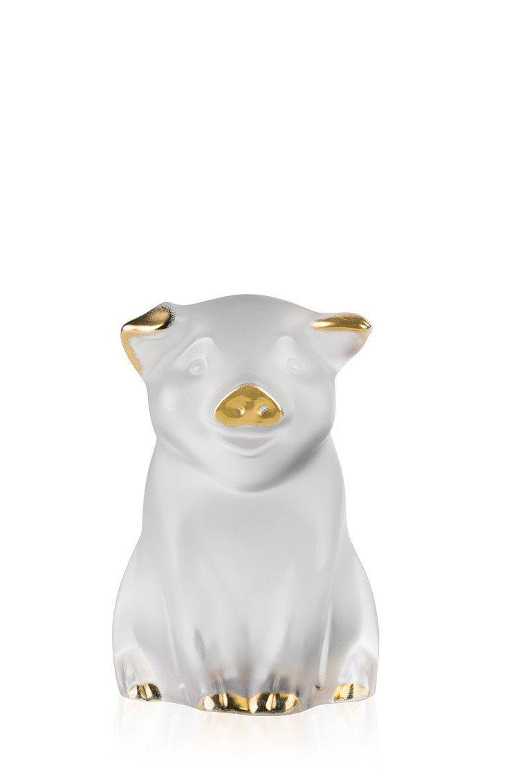 LALIQUE提金豬大吉手描金水晶擺件。23,800元。圖/集雅廊提供