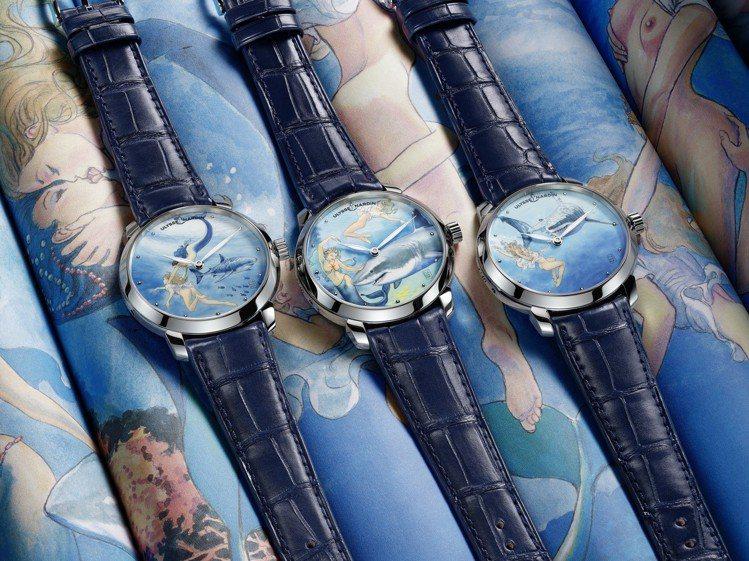 雅典表推出10款一套的鎏金系列MANARA微繪藝術限量腕表,不鏽鋼表殼,約95萬...
