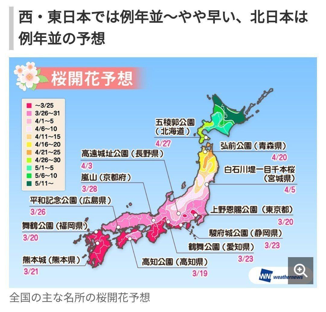 日本氣象專業網weather news發表2019櫻花預測。圖/翻攝Yahoo新...